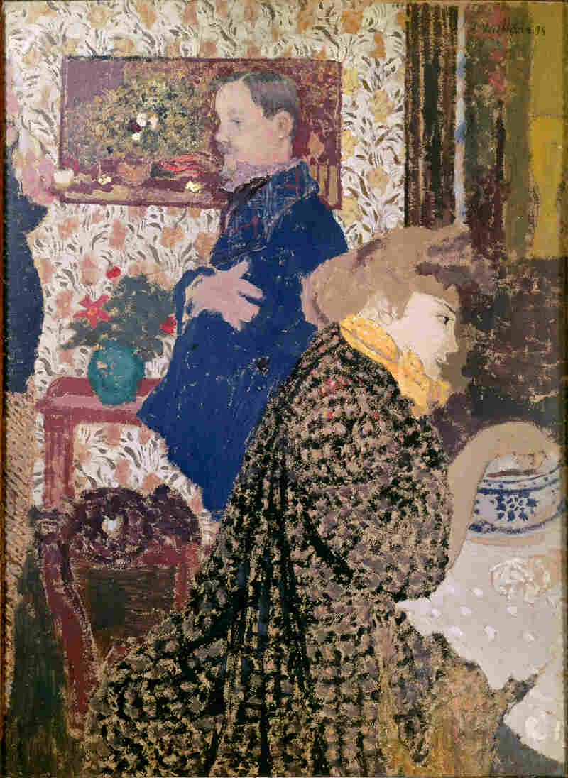 Vuillard depicts Misia Natanson and artist Felix Vallotton in this 1899 oil on cardboard: Vallotton and Misia in the Dining Room at Rue Saint-Florentin.