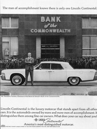 An ad for the 1965 Lincoln Continental.