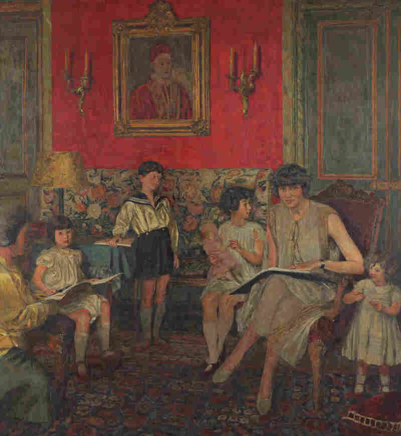 Vuillard worked on several versions of this portrait of Gilberte Bloch and her children. (Click here to see the portrait in different stages.) The portrait was left with friends when the family fled the Nazis during World War II.