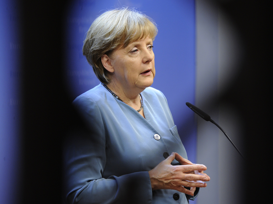 German Chancellor Angela Merkel speaks during a press conference in Brussels.