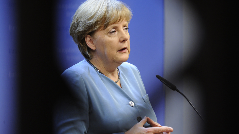 German Chancellor Angela Merkel speaks during a press conference in Brussels. (AFP/Getty Images)