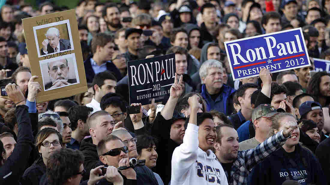 The crowd reacts as Rep. Ron Paul, R-Texas, speaks at the University of California, Berkeley, on April 5.