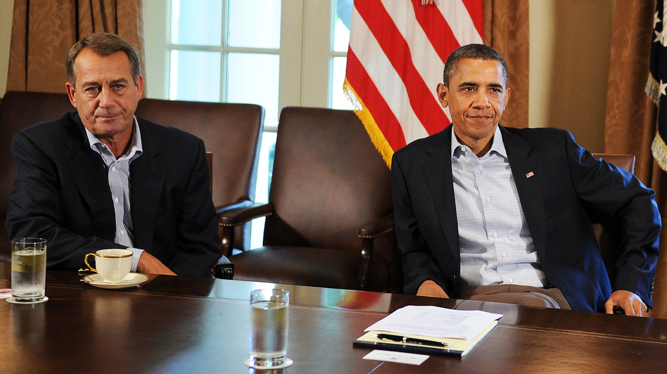 House Speaker John Boehner, R-Ohio, and President Obama at the White House. (AFP/Getty Images)