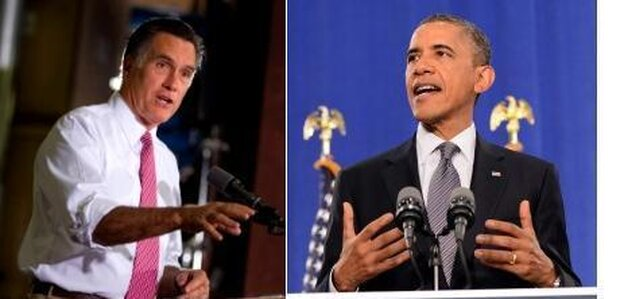 Republican presidential candidate Mitt Romney on the left. President Obama on the right.
