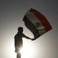 An Egyptian protester waves a flag in Cairo.