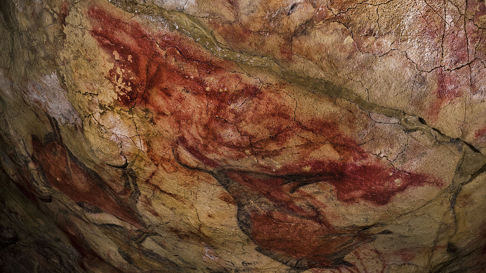 The symbol on the ceiling of the Altamira Cave in Spain has been dated to earlier than 35,600 years ago, making it some 20,000 years older than the bison in the background. (AAAS/Science)