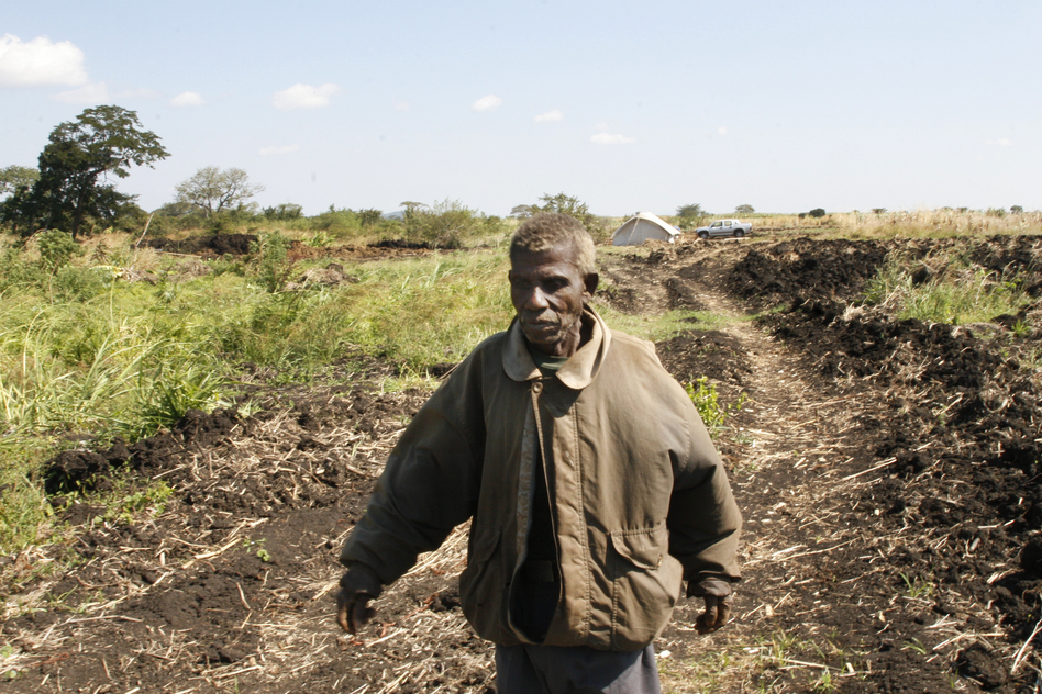 Vitorino Munalile walks past a field where he used to grow crops. Workers at the investor-owned farm recently plowed up the land for the farm's own use. (Belchion Lucas for NPR)