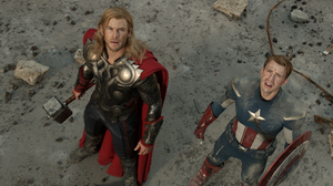 Chris Hemsworth and Chris Evans as Thor and Captain America in The Avengers.