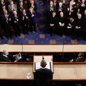 President Obama addresses a joint session of Congress while delivering his State of the Union speech in 2011. During his first two years in office, Obama used big Democratic majorities in Congress to muscle through major legislation, but since the 2010 midterm elections, he's increasingly been stymied by a wall of GOP opposition.