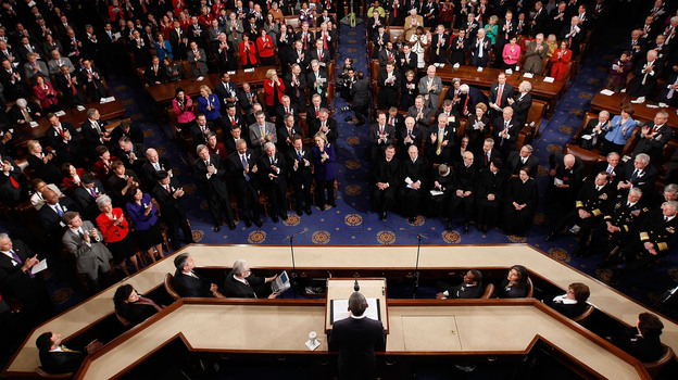 President Obama addresses a joint session of Congress while delivering his State of the Union speech in 2011. During his first two years in office, Obama used big Democratic majorities in Congress to muscle through major legislation, but since the 2010 midterm elections, he's increasingly been stymied by a wall of GOP opposition. (Getty Images)