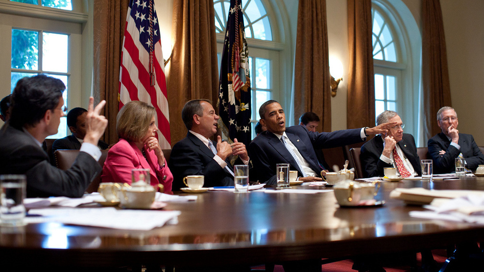 President Obama meets with congressional leaders in the Cabinet Room of the White House to discuss the debt limit and deficit reduction in July 2011. (The White House)