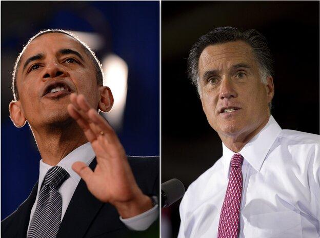 President Obama and Mitt Romney in Ohio, June 14, 2012.