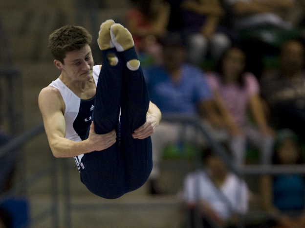 Trampolinist Steven Gluckstein in the pike position during last year's Pan American Games. He and his brother, Jeffrey, will compete for one spot on the U.S. Olympic team.