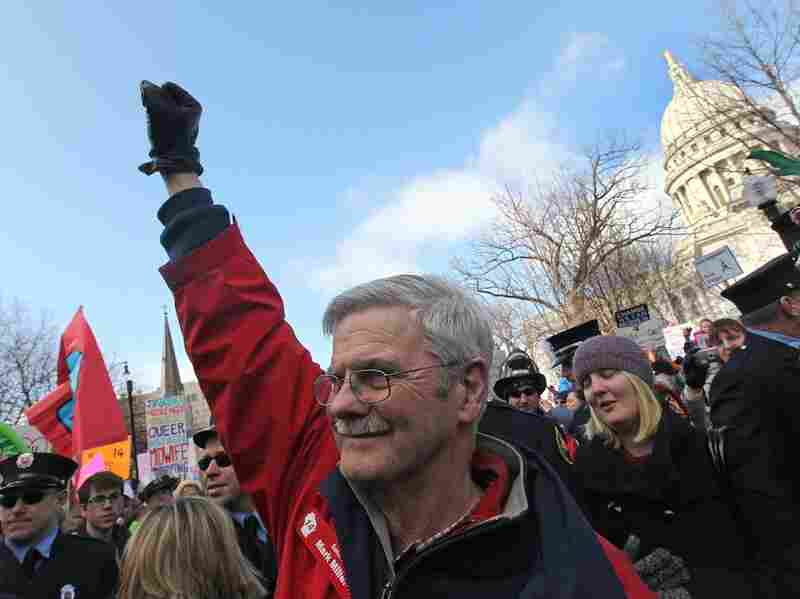Democratic Wisconsin State Senator Mark Miller greets supporters while marching at the Capitol on March 12, 2011 in Madison. The movement against Gov. Scott Walker's elimination of collective bargaining rights suffered a decisive blow after Walker handily beat Milwaukee Mayor Tom Barrett in a recall election.