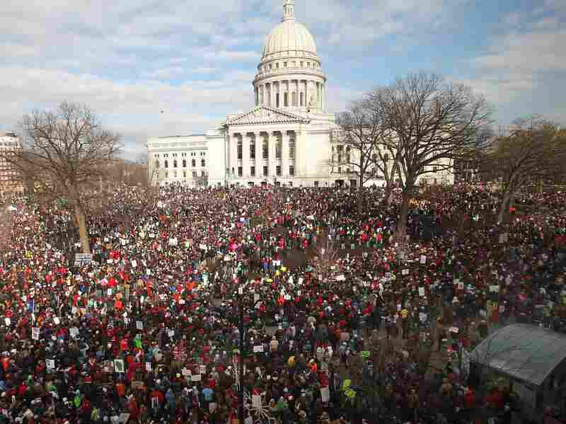 Thousands of demonstrators protest against Gov. Scott Walker's elimination of collective bargaining rights outside the Wisconsin State Capitol March 12, 2011 in Madison, Wisconsin. Despite the high number of protesters, union membership rates in the U.S. remain near all-time lows.