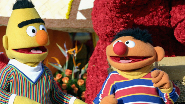 Sesame Street's Bert and Ernie in the 2005 Tournament of Roses Parade. They even look like a clash between Order and Chaos, don't they? (Getty Images)
