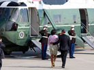 President Obama and first lady Michelle Obama board Marine One at John F. Kennedy International Airport in New York on Thursday. The Obamas were in New York for  fundraisers and a tour of One World Trade Center.