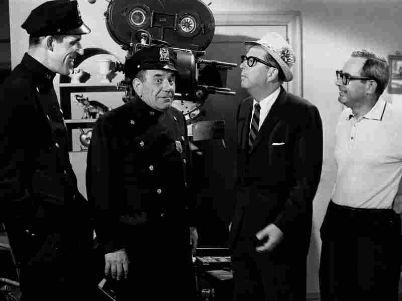 From left, Gwynne and Ross kibbitz with Phil Silvers of Sgt. Bilko and Nat Hiken, who created both classic TV comedies.