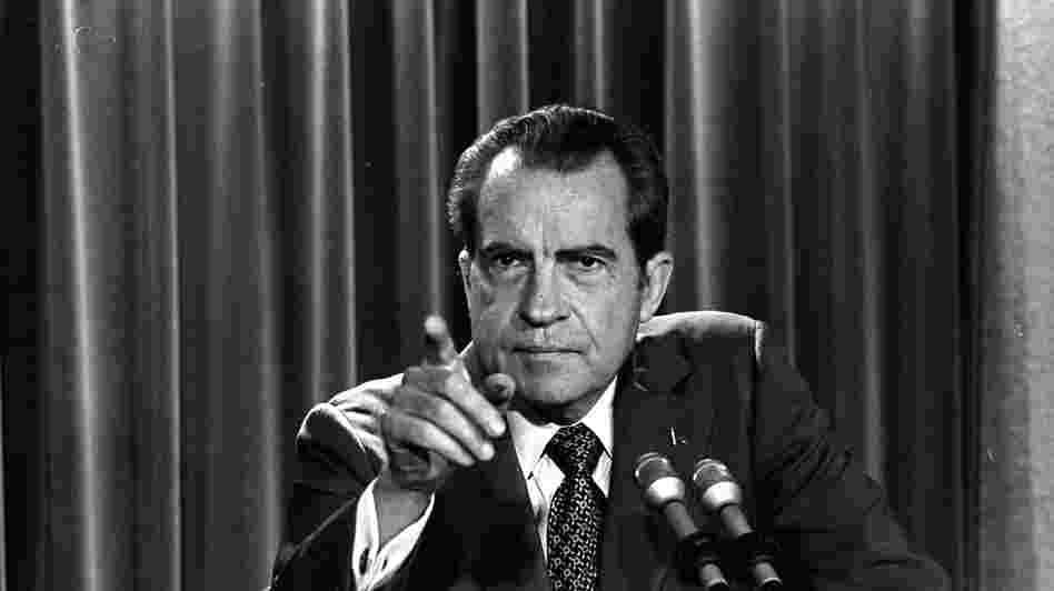 President Richard Nixon tells reporters he will not allow his legal counsel, John Dean, to testify before Congress in the Watergate investigation, March 15, 1973. Leaks about the Watergate break-in eventually helped lead to Nixon's resignation. And his administration fought and lost a Supreme Court battle over leaking of the so-called  Pentagon Papers about Vietnam.