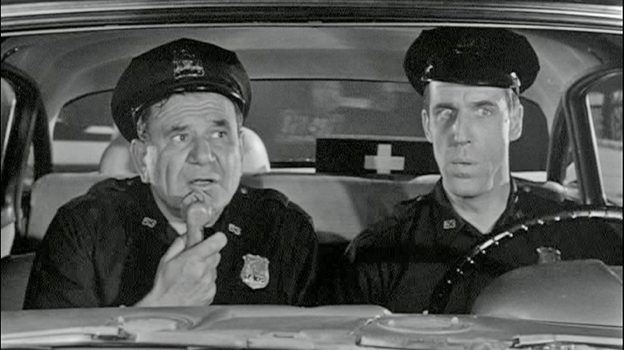NYPD officers Gunther Toody (Joe E. Ross) and Francis Muldoon (Fred Gwynne) patrolled the Bronx in the 1960s sitcom Car 54, Where Are You?  (Shanachie Entertainment)