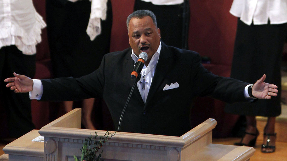 The Rev. Fred Luter is running unopposed for the presidency of the Southern Baptist Convention. Here, he delivers a sermon during Sunday services at Franklin Avenue Baptist Church in New Orleans. (AP)
