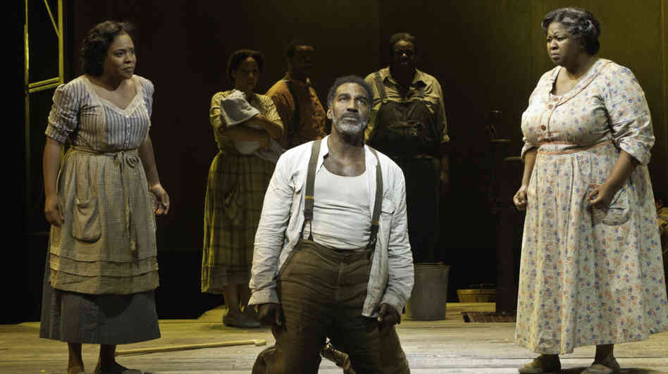 Mariah, at right, is the steel-spined matriarch of Porgy and Bess's Catfish Row. Actress NaTasha Yvette Williams, with Norm Lewis's Porgy and Bryonha Marie Parham's Serena, creats one of the show's pivotal moments without having to speak a word.