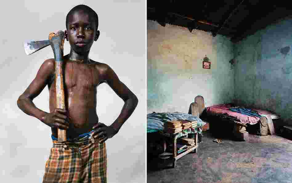 Lamine, 12, lives in a village in Senegal, western Africa. He is a pupil at the village Quranic school, where no girls are allowed. He shares a room with several other boys from the school.