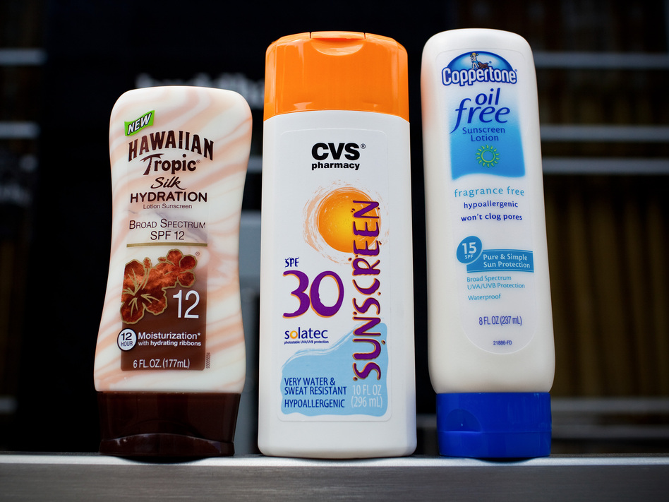 Which one of these sunscreens would be considered safe and correctly labeled by the Food and Drug Administration? Not a single one. Safe sunscreens are SPF15 or higher, and the new rules require those with broad-spectrum protection to include the term next to and in the same style as the sun protection factor. (Benjamin Morris/NPR)