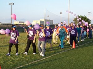 "An American Cancer Society Relay for Life event at the University of Texas-Dallas in 2006. The events are meant to ""celebrate the lives of people who have battled cancer, remember loved ones lost, and fight back against the disease,"" according to th"