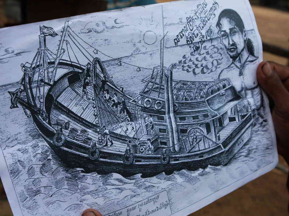 Prum drew this picture of the Thai boat on which he was held and forced to work as a fisherman.