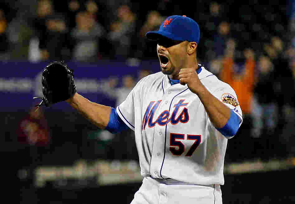 Johan Santana (#57) of the New York Mets celebrates after pitching a no hitter against the St. Louis Cardinals at CitiField on June 1, 2012. The Mets defeated the Cardinals 8-0.