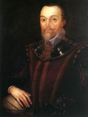 Sir Francis Drake, seen here in a painting by Marcus Gheeraerts the Younger, became the first British explorer to make contact with Native Americans.