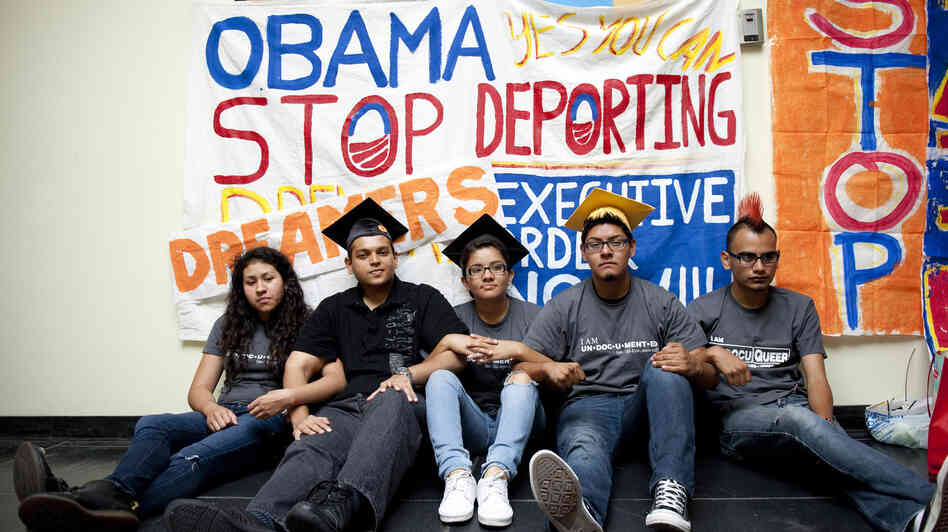 Myisha Areloano, Adrian James, Jahel Campos, David Vuenrostro and Antonio Cabrera camp outside President Obama's c