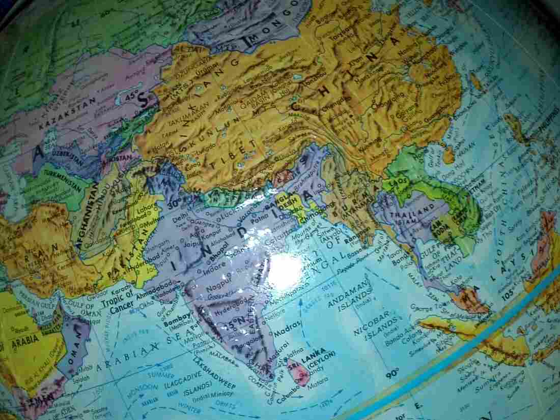 A globe, looking at China, India and the surrounding region.