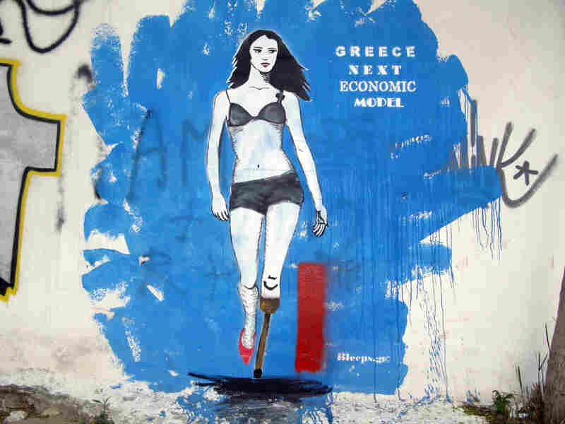 Street art by Bleeps.gr are allegories of the effects of the economic crisis on ordinary Greeks.