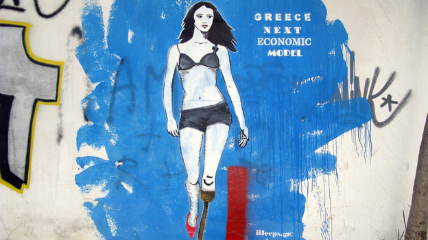 Street art by Bleeps.gr are allegories of the effects of the economic crisis on ordinary Greeks. (NPR)