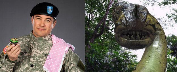Dean Cain, left, in Operation Cupcake. The Piranhaconda, right, in Piranhaconda.