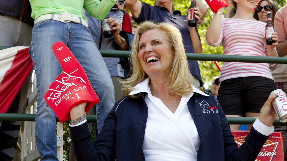 "Ann Romney, wife of Republican presidential candidate Mitt Romney, wears a ""Dressage is no. 1"" foam finger at a competition on Saturday. Romney's horse, Rafalca, qualified for the 2012 Olympic dressage team. (Courtesy of Steve O'Byrne)"