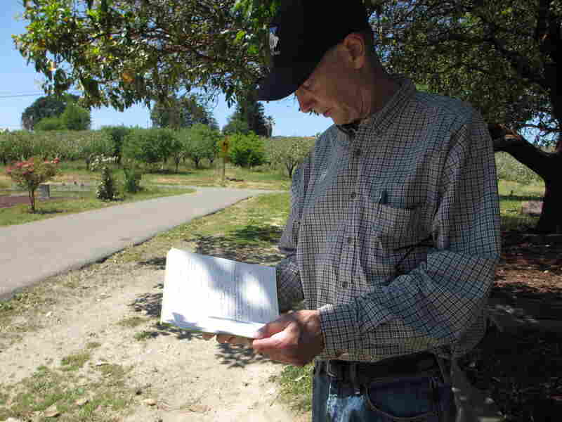 Seismologist Jack Boatwright checks his notes from 2006, when he determined that two-thirds of Gilliam's headstones had very likely been shattered during the 1906 earthquake. Back then, he didn't know that Tony Pires had been resurrecting buried headstones at the cemetery.