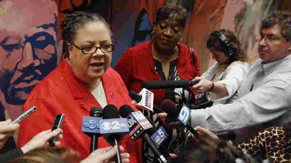 Chicago Teachers Union President Karen Lewis speaks to reporters after casting her ballot in a strike authorization vote. Teachers voted overwhelmingly to authorize the first strike in 25 years if the city and the union can't come to terms this summer.