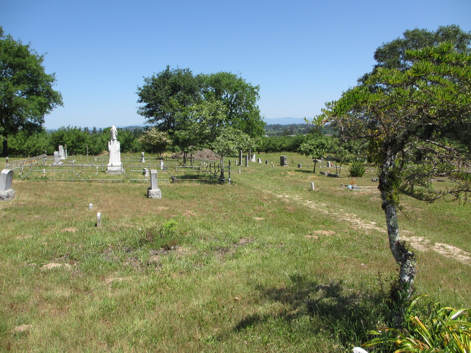 Some of the oldest headstones at the Gilliam Cemetery were broken and buried by two factors: the 1906 earthquake that also hit nearby San Francisco, and plant and animal life that mounded dirt over broken stones.