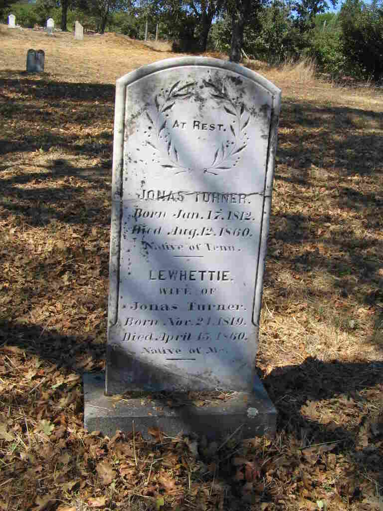 The repaired headstone for Jonas Turner and his wife, Lewhettie, shows that he was a native of Tennessee and she was a native of Maine. They died just four months apart, in 1860.