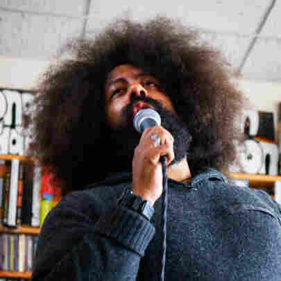Reggie Watts gives a Tiny Desk Concert on May 21, 2012 at NPR Headquarters in Washington, D.C.