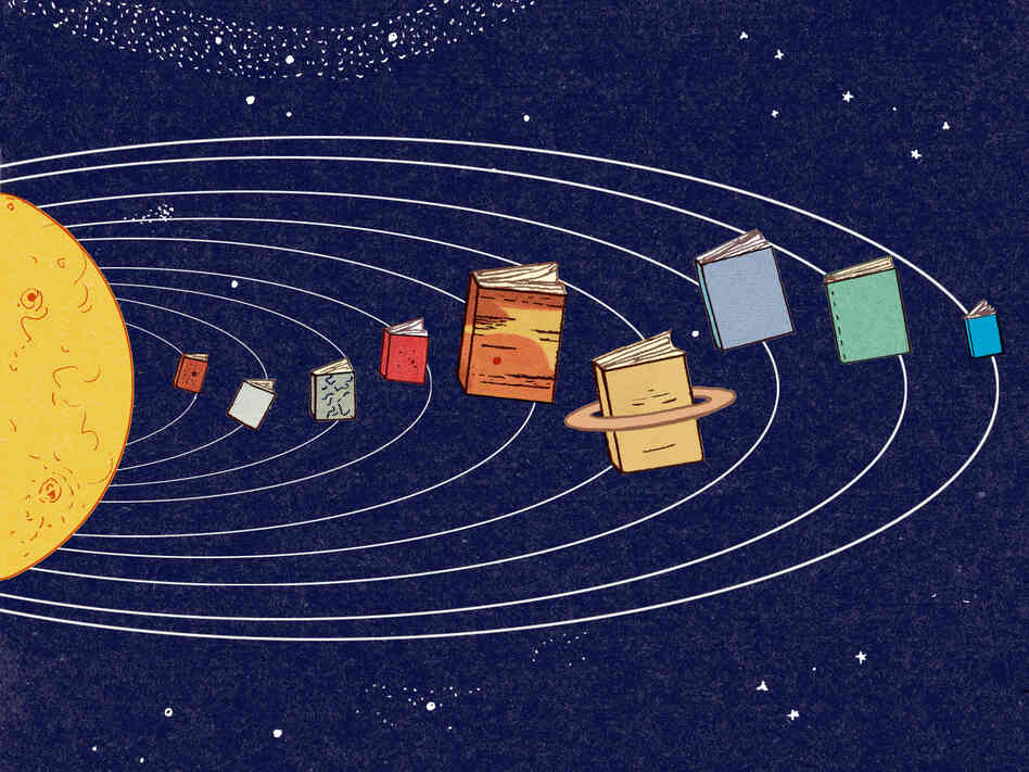 Illustration: Solar system of books