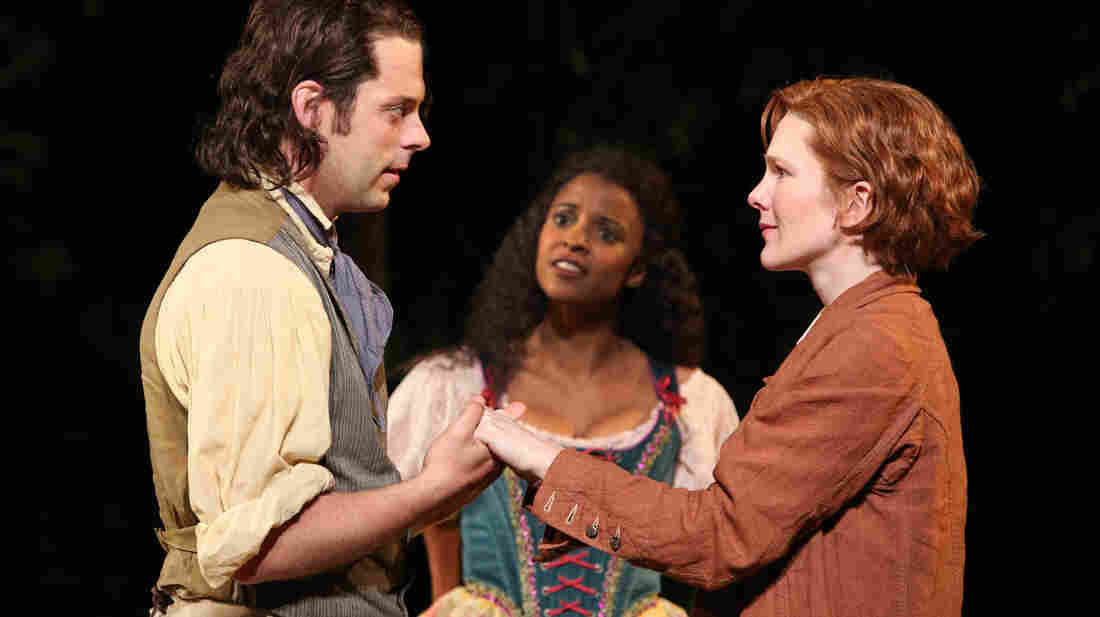 Orlando (David Furr), Rosalind (Lily Rabe, right) and Celia (Renee Elise Goldsberry) in As You Like It. The Public Theater's production opens the 50th-anniversary season at New York's Delacorte Theater.