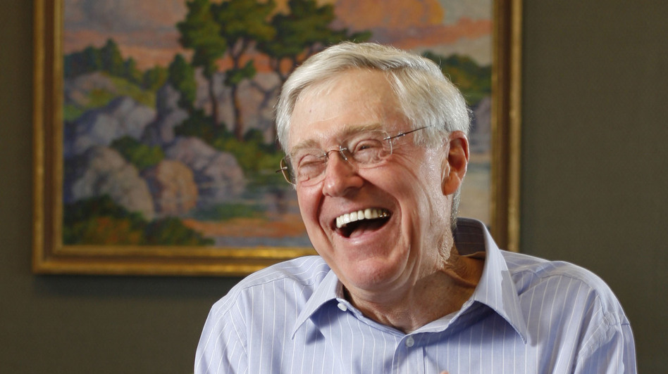 Charles Koch of Koch Industries speaks in 2007 about his book <em>The Science of Success</em> in Wichita, Kan.