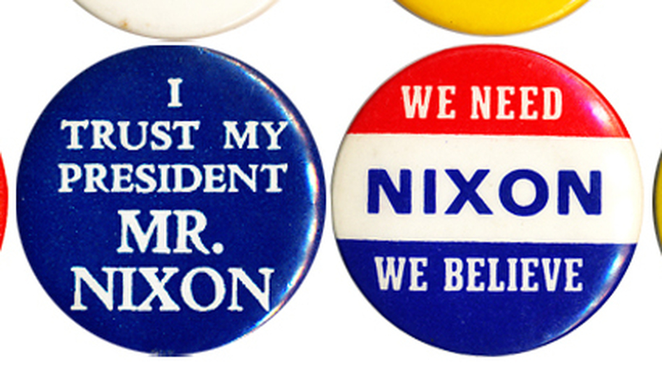 Initially the nation was split on Nixon and the Watergate scandal, but by the summer of '74 there was overwhelming sentiment for him to resign. (Ken Rudin collection)