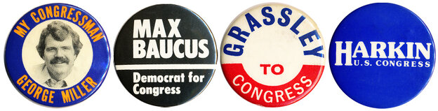 Buttons from 4 of the 5 original members of the Class of '74 who still serve in Congress.  (Will someone please tell Henry Waxman to make a button?)
