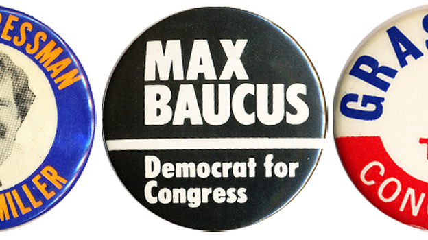 Buttons from 4 of the 5 original members of the Class of '74 who still serve in Congress.  (Will someone please tell Henry Waxman to make a button?) (Ken Rudin collection)