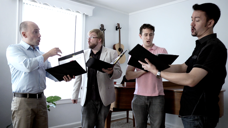 New York Polyphony perform Renaissance songs for an In Practice recording session.